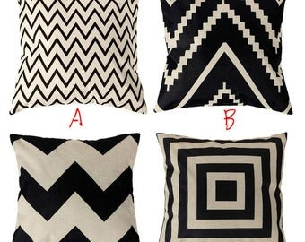 Black White Geometric Square Throw Pillow Cases Cushion Covers for Home