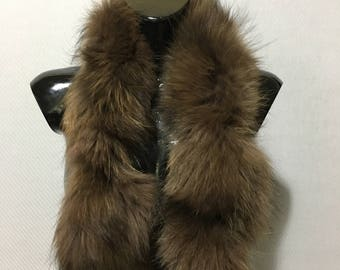 Genuine Real Shade Of Brown Color Fox Fur Small Collar