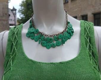 Necklace, turquoise, copper, ladies jewelry, eco-friendly, organic jewelry, copper chain, eco jewelry, NECLACE