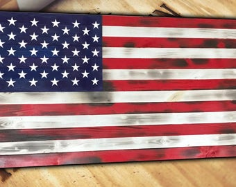 American Flag Wood Sign Burnt Distressed Handcrafted