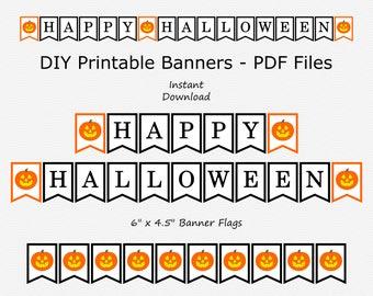 Happy Halloween Banner - Black & Orange - Jack-O-Lantern - PRINTABLE - INSTANT DOWNLOAD
