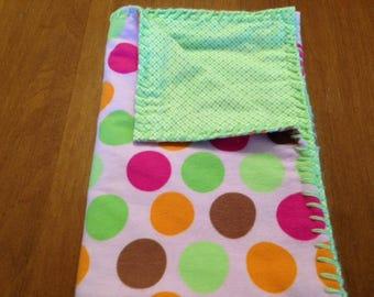 Handmade Pink & Green Polka Dot SnuggleBuggCo Original Baby Blanket