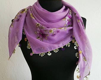 Lavender floral cotton Turkish oya scarf with needle lace edging, Turkish lace scarf with vintage print