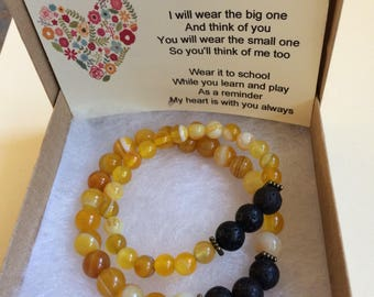 lava bracelet set - yellow agate  - stretchy bracelet - handmade - gemstone -