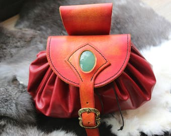 Aventurine gemstone and leather purse