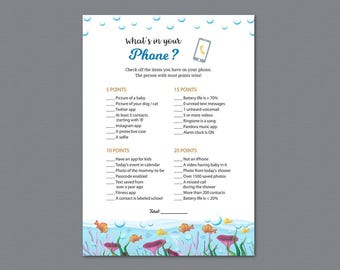 What's In Your Phone Game Printable, Baby Shower Games, What's on Your Phone, Under the Sea, Underwater, Ocean, Cell Phone Game, B005