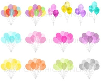 80% OFF SALE Commercia use clipart Party birthday balloons clip art Party printables Colorful balloons clipart, Balloons vector clip art KG2