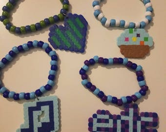 Set of 4 EDC Perler Kandi Bracelets!!