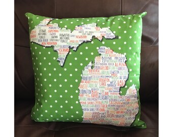 State of Michigan Pillow With Cities in Green