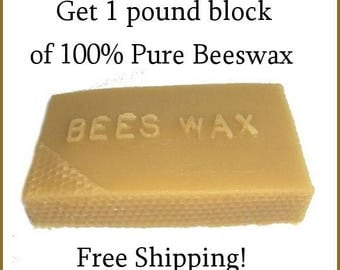Beeswax 1 pound - natural 1 lb beeswax - Free Shipping - Beekeeper Direct