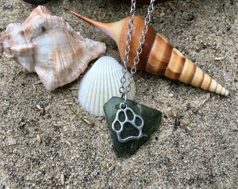 Olive beach glass necklace