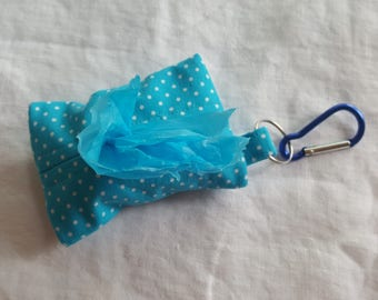 Dog Poop Bag Dispenser - Clip on Style - Teal Blue with White Polkia Dots