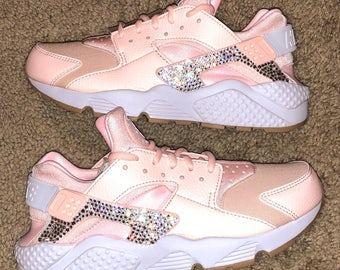 crystal Nike Huarache Bling Shoes with Swarovski Crystals Women's Running Shoes Sunset Tint