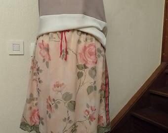 Pink print chiffon skirt