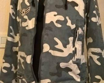 Jacket cushioning cotton camouflage print