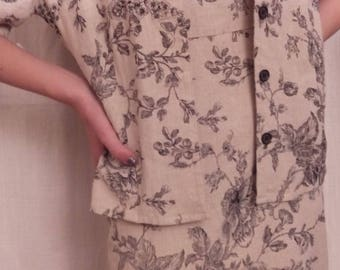 Short sleeve jacket toile de jouy