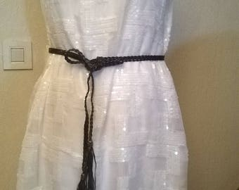 Sleeveless with white sequin dress