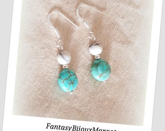 Turquoise Howlite and Sterling Silver 925 earrings