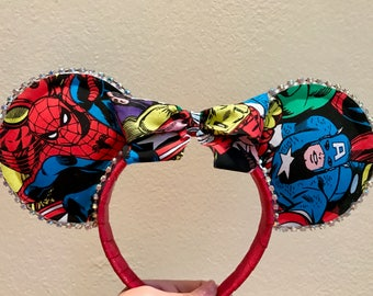 Marvel Mouse Ears - Spiderman, Captain America and Hulk themed