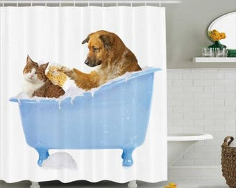 Cat And Dog Shower Curtain Shower Curtain Fun Bathroom Decor Bathroom Decor
