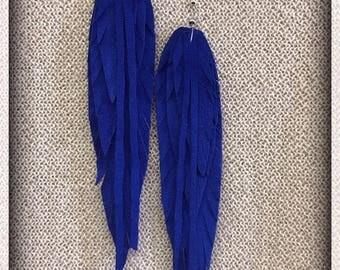 Leather feather earrings, royal blue, feather earrings, handmade earrings
