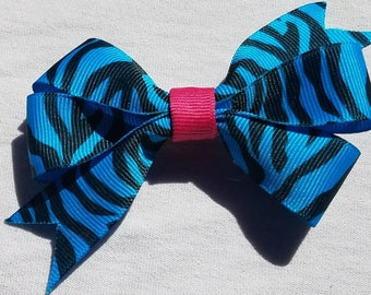 Blue Zebra Hair Ribbon