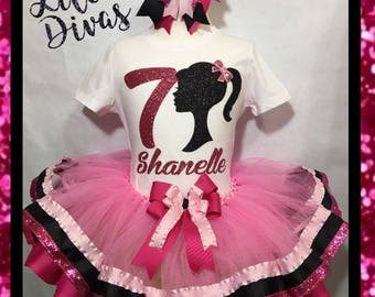 Barbie tutu, Barbie birthday, barbie dress, barbie silhouette, Barbie, barbie party, barbie birthday party tutu