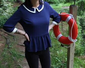 vintage style chiffon sailor blouse