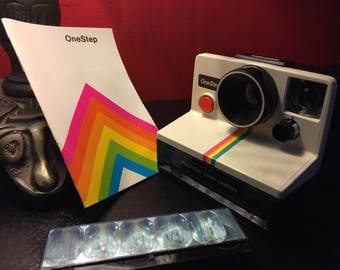 Vintage 1970's Polaroid One Step - Instant Land Camera - With Case, Instruction Manual, and Flash - Rainbow Stripe - Complete Set