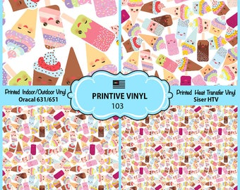Ice Cream Emoji Printed Pattern Vinyl/Siser HTV/ Oracal/ Indoor Vinyl/ Outdoor Vinyl/ Heat Transfer Vinyl- 103