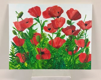POPPIES Spring color bright red green high contrast