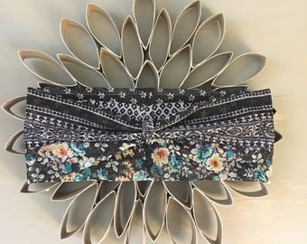black/white/teal floral twisted headband
