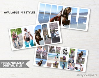 Personalized Uncle Photo Collage, Personalized Picture Collage, Uncle Gift, Birthday Gift for Him, Unique Gifts for Men, Digital File