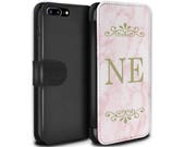 Pink Marble Yellow Font initial Frame Personalized Custom Design Wallet Flip Phone Case iPhone 5 5s SE 6 6S Plus 7 7 Plus