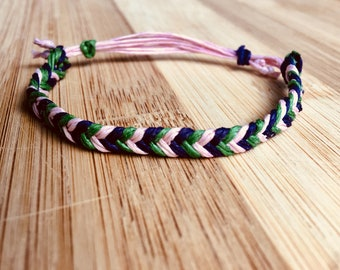 purple, pink and green braided bracelet