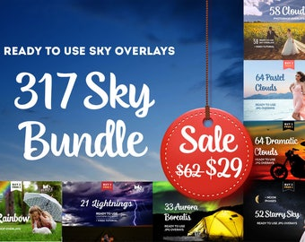 317 Sky Overlays, Photo overlays, Sky overlay, Sky overlays, Photoshop overlay, Cloud overlay, Sunset overlay, Digital Background, Rainbow