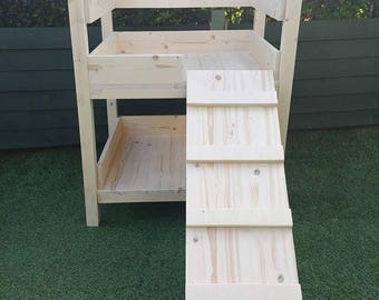 Handmade wooden dog bunk bed (small breed of dog)