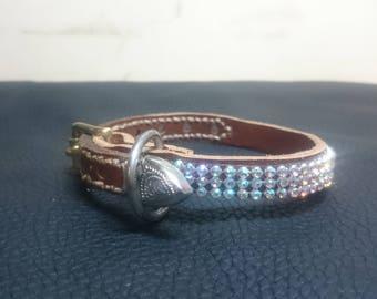 """11"""" mini leather sparkle collar"""