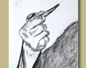 Sketch of a hand holding a pipe smoking