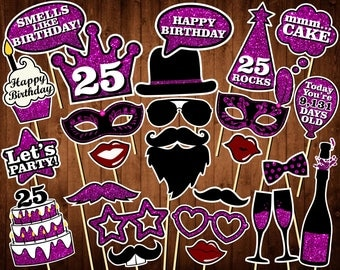 25th Birthday Photo Booth Props - Printable PDF - INSTANT DOWNLOAD - 25th Birthday Party Supplies - Purple Glitter Props