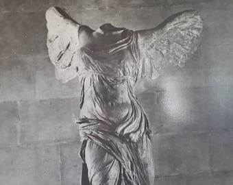 Black and white photography of the Victory of Samothrace (Nike of Samothrace)  from the