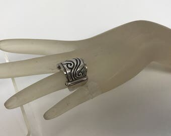 Vintage ZINA STERLING SILVER Wide Ring 19.9 Grams Size 7 3/4