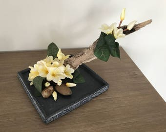 Frangipani flower arrangement with Driftwood
