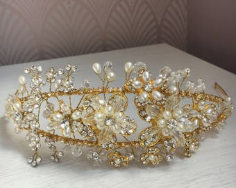 Gold floral bridal headband/ tiara/ side tiara/ crown with diamantes, crystal and pearl beading, statement wedding hair accessory