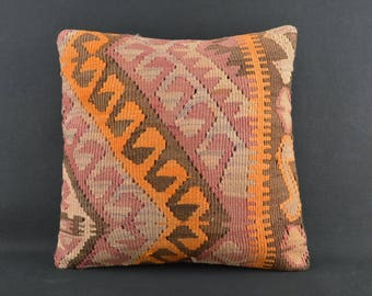 40x40 Rustic Anatolian Kilim Cushion Home Decor Kilim Pillow Covers Throw Kilim Cushion Orange Details Rustic Home Decor