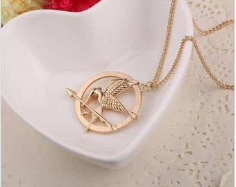 The Hunger Games Movie Inspired Mockingjay Bird Necklace Cosplay Gold Bronze Silver