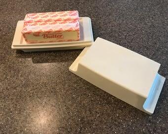 Tupperware 2 Stick Butter / Cream Cheese Dish / Almond / Vintage
