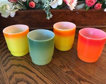 Vintage Fire King / Anchor Hocking / D handle / Stackable Mugs / Orange ,Orange/Yellow, Green 1960's / Set of 4  / Kitchen / Coffee Mug