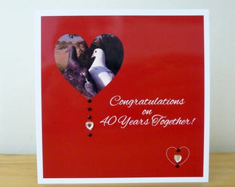 """Individual 140mm Square Blank """"Love Birds"""" Ruby Wedding Anniversary Card """"Congratulations on 40 years together!"""" With Acrylic Gems"""