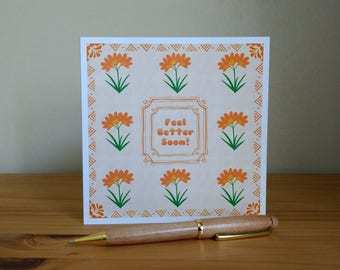 """Orange Clivia Flowers Get Well Card """"Feel better soon!"""" Add own message By Crannycards"""